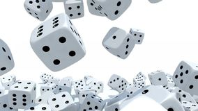 Many dices fall on white background stock video