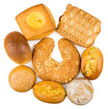 Many different baked products isolated on white background Royalty Free Stock Images