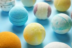Many different bath bombs royalty free stock photography