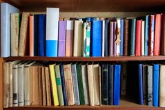 Many different books are on the shelves royalty free stock image
