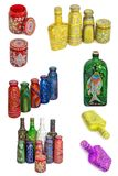 Many different bottles, painted dot painted on isolated background. Royalty Free Stock Photos