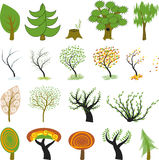 Many different cartoon trees Royalty Free Stock Images