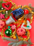 Many different Christmas decorations on red Royalty Free Stock Photo