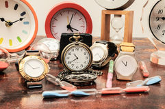 Many different Clocks Stock Images