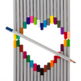 Many different color pencils, heart Stock Photo