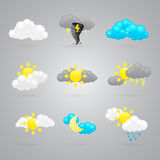 Many different color weather icons Royalty Free Stock Photo