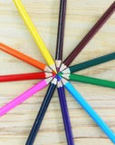 Many different colored crayon color pencil on wooden Royalty Free Stock Photos