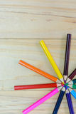 Many different colored crayon color pencil on wooden Royalty Free Stock Photography