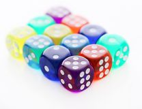 Many different colored dice Royalty Free Stock Images