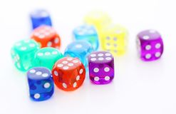 Many different colored dice Stock Photos