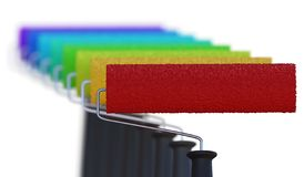 Many different colored paint rollers. 3D rendered illustration. stock photography