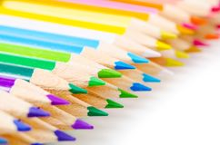 Many different colored pencils. Many different colored pencils islolated on a white background Stock Photos