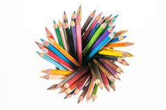 Many different colored pencils on top look like radius with whit Royalty Free Stock Images