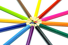 Many different colored pencils on white Royalty Free Stock Photos