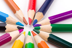 Many different colored pencils on white background Stock Photos