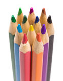 Many different colored pencils on white background Stock Images