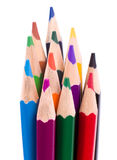 Many different colored pencils on white Royalty Free Stock Images