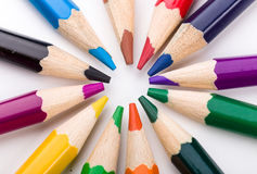 Many different colored pencils on white background Stock Photography