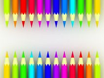 Many different colored pencils on white background Royalty Free Stock Photo