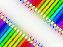 Many different colored pencils on white background Stock Photo