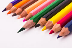 Many different colored pencils on white background Royalty Free Stock Images