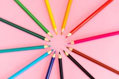 Many different colored pencils on white background royalty free stock photos