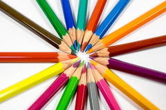 Many different colored pencils on white background Royalty Free Stock Photography