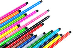 Many different colored pens with copy space Royalty Free Stock Images