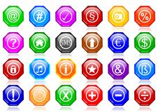 Many different colorful icons as octagons Royalty Free Stock Photo