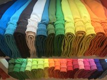 Many different colors man swimsuits underwear in a store Royalty Free Stock Image