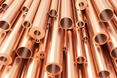 Many different copper pipes, abstract industrial background. Metallurgical industry production and non-ferrous industrial products abstract illustration - many Royalty Free Stock Image