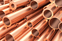 Many different copper pipes, industrial background Stock Photography