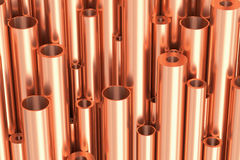 Many different copper pipes industrial background Royalty Free Stock Photo