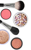 Many Different Cosmetics And Makeup Brushes Royalty Free Stock Images
