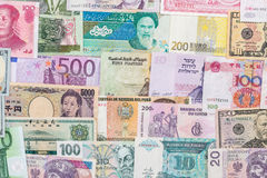 Many different currency banknotes from world country Stock Photos