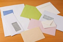 Many different envelopes Stock Images