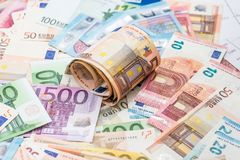 Many different euro banknote as background.  Stock Photos