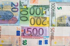 Many different euro banknote. As background Stock Images