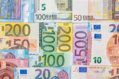 Different euro banknote as background . Many different euro banknote as background Royalty Free Stock Photo