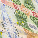 Many different euro bills. back side Royalty Free Stock Images