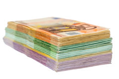 Many different euro bills Stock Photo