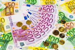 Many different euro bills Royalty Free Stock Photography