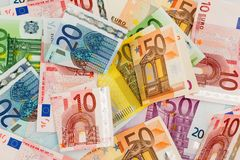 Many different euro bills Stock Image