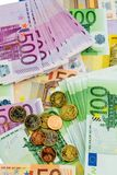 Many different euro bills Royalty Free Stock Photo