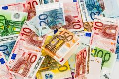 Many different euro bills Stock Photos