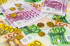 Many different euro bills stock images