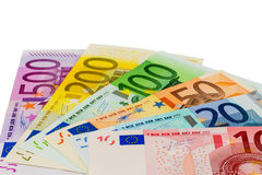 Many different euro bills Stock Photography