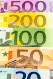 Many different euro bills Royalty Free Stock Photos