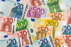Many different euro bills Royalty Free Stock Image
