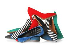 Many different female shoes. On white background royalty free stock photos